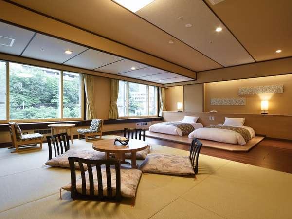 【モダン和洋室/60㎡】広々とした和室部には、心地よい琉球畳を使用