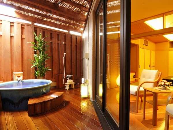 [211香橙・客室露天]プライベート感演出のため、眺望はございません…温泉をとことんお楽しみください