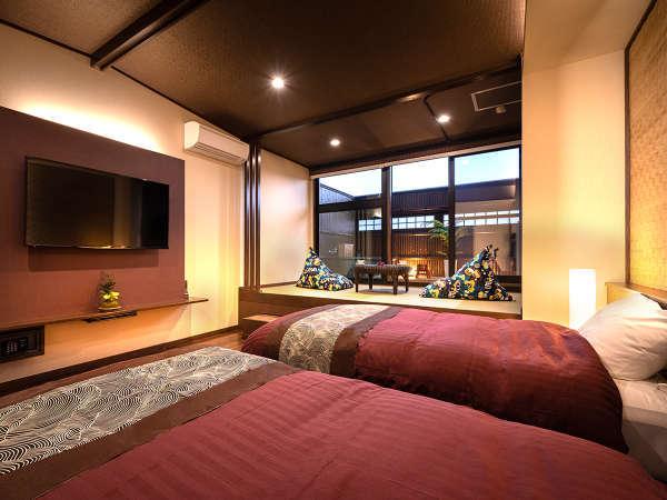 ■リニューアル 和洋室ツインのお部屋『五葉』。段差を少なくしたバリアフリー形式のお部屋