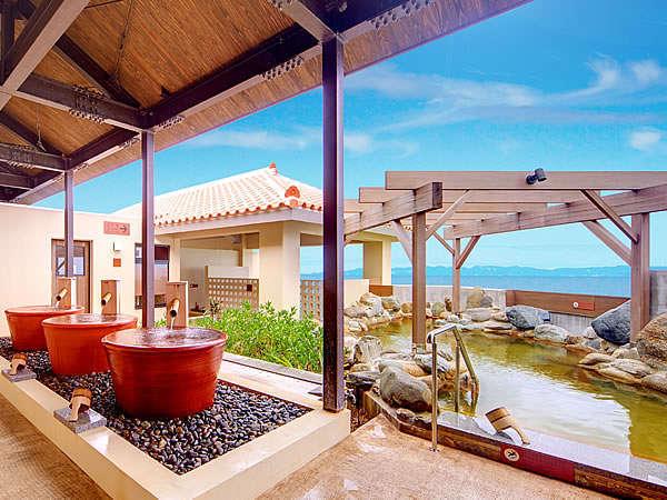 瀬長島ホテルといえばこれ、大人気の露天風呂≪龍神の湯≫壺湯、立湯、サウナと種類も豊富♪