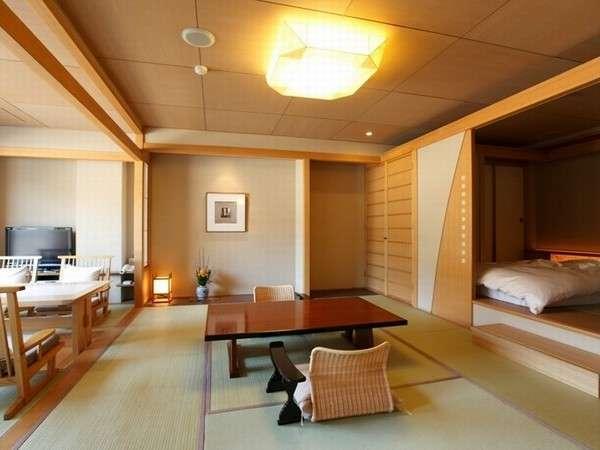 露天風呂付和洋室の一例です。こちらは和ベッドタイプとなります