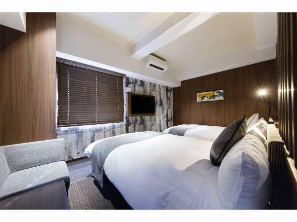【デラックスツインルーム】 部屋数:14室 大きさ:25㎡~ ベッドサイズ:140㎝×2台