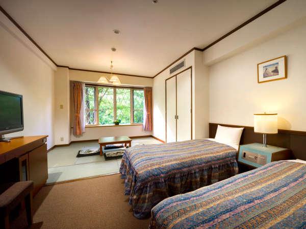★コネクション館・和洋室 例(7.5畳の畳スペース+シングルベッド2台/定員5名)