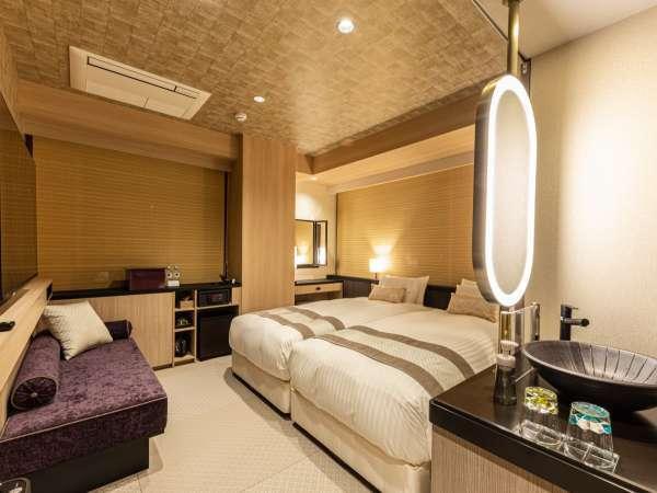 ミュッセハリウッドツイン(客室例) 21㎡~23㎡ ベッド「DeluxeSuiteⅡ」(幅1,000mm×長さ2,000mm)×2台
