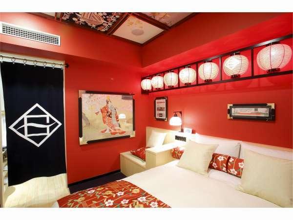 「歌舞伎×ホテルグレイスリー」がコラボしたコンセプトルーム【歌舞伎ルーム】< (C) SHOCHIKU >