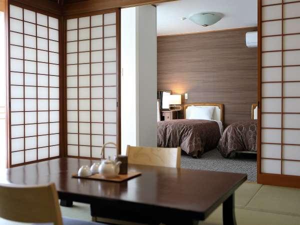 【禁煙】山里の眺望臨む和洋室10畳+ツイン(バス・トイレ付)ベッドルーム