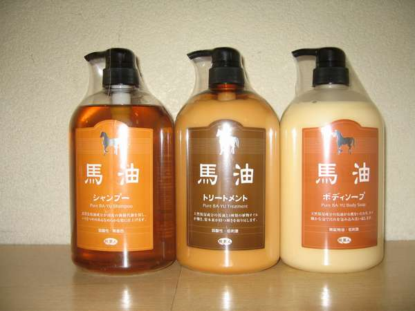 浴場で使用している馬油とハーブエキスが使用されている高級ヘアケア用品 売店にて販売もしております