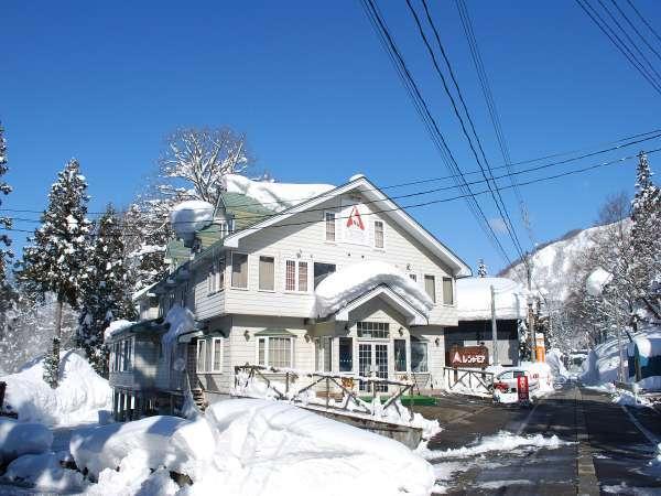 かぐらスキー場前の宿 ペンション レ・シャモア 2月頃の景色