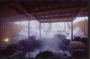雪見の露天風呂も格別の趣。白一色に染まる時期は一層静けさを増します。
