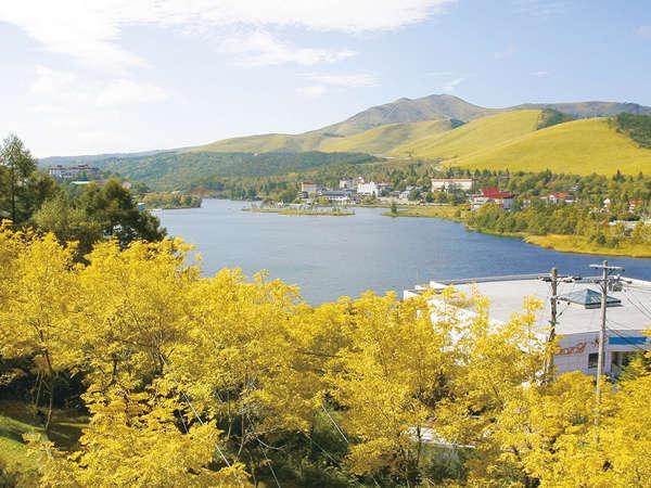 白樺湖と車山を眺めながらの、紅葉散策