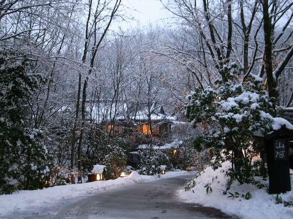 【駐車場からのアプローチ(冬)】あたり一面、雪景色です