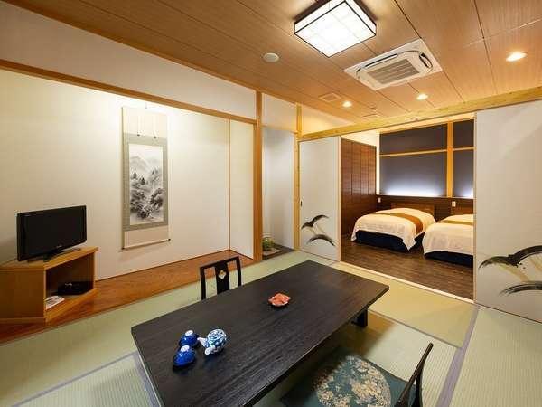 3例:半露天風呂付き客室(美泡風呂)      和室8畳+洋室8畳
