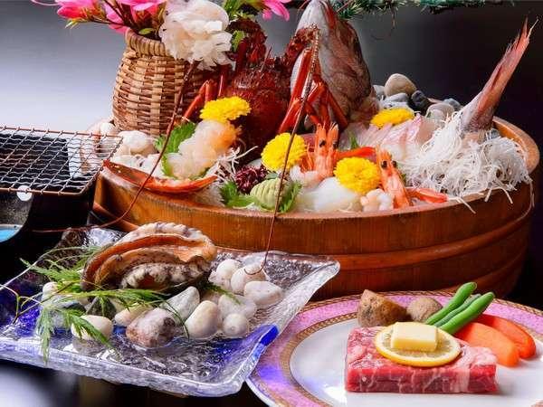 豪華桶盛り、鮑踊焼き、松阪牛ステーキで満腹に!(一例)
