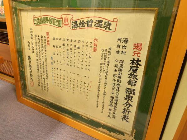 *ロビー/湯檜曽温泉 林屋旅館の温泉分析表