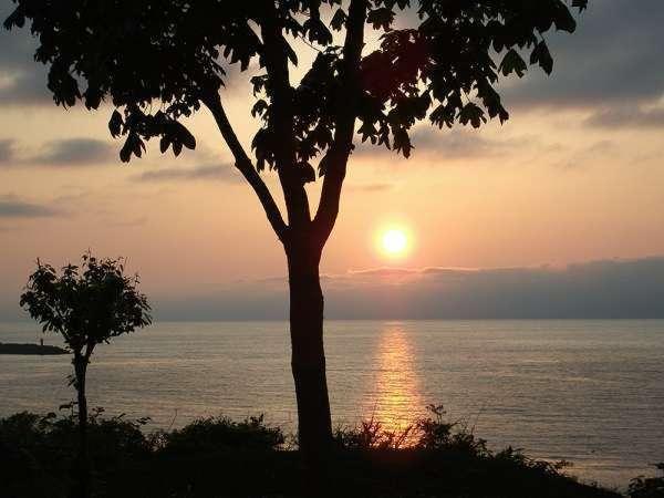 ※ホテル中庭から望む夕日