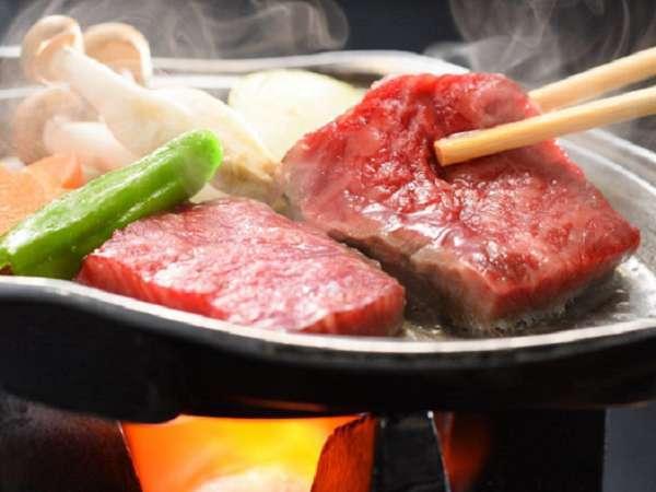 贅沢プラン青森銘牛倉石牛の陶板ステーキ