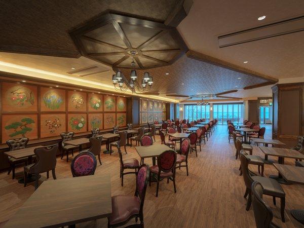 レストランアムールを新設しました。山海荘本館の天井絵を移設し壁に使用しました♪