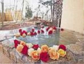 お肌もスベスベ、バラ風呂で優雅なバスタイムを・・