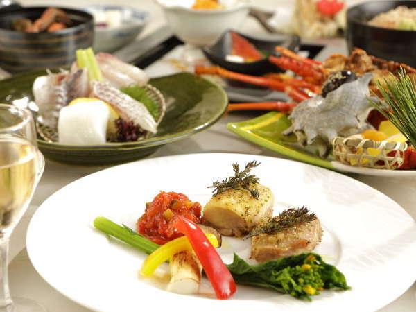 (プラン料理一例)天城軍鶏を伊豆の海水で作ったお塩とハーブで♪土肥の伊勢海老も堪能~