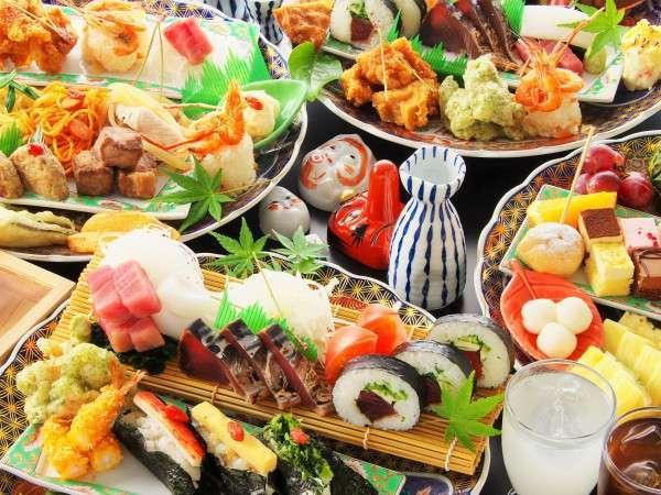 【皿盛バイキング】高知県の郷土料理を中心としたお料理をご準備しております。※盛り付け一例