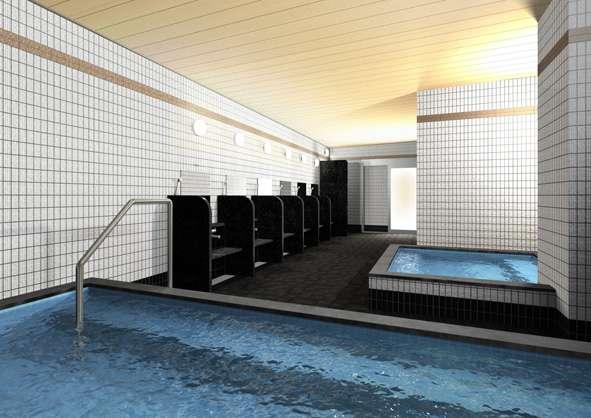 大浴場にはTV付きサウナ、水風呂、しきり付きの洗い場等をご用意しました。(男性専用)
