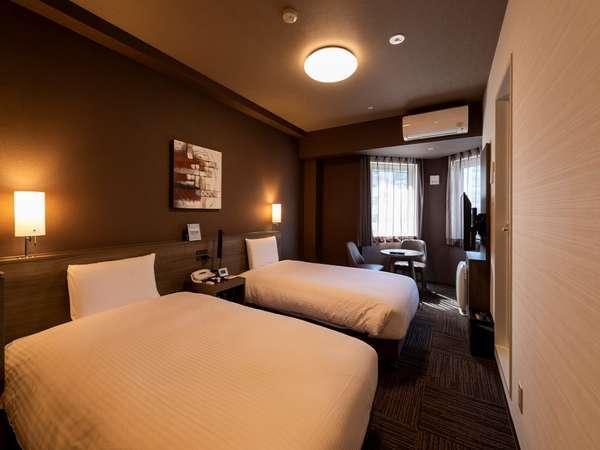 ツインルーム 全室エアウィーブの寝具を採用。旅の疲れが癒されます
