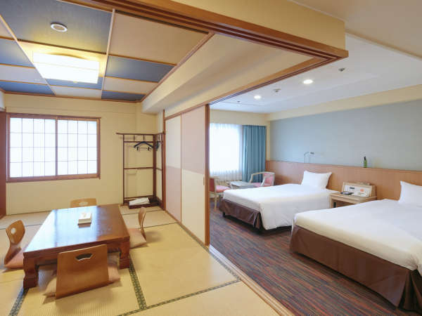 ◆44.2平米の和洋室 (9階)、大人最大5名様まで宿泊可能、友達同士や家族での利用に便利