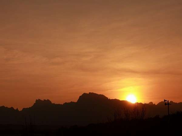 妙義山に沈む夕日