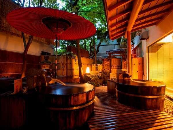 男女別浴場「緑風」には源泉掛け流しの桶風呂が3つも!