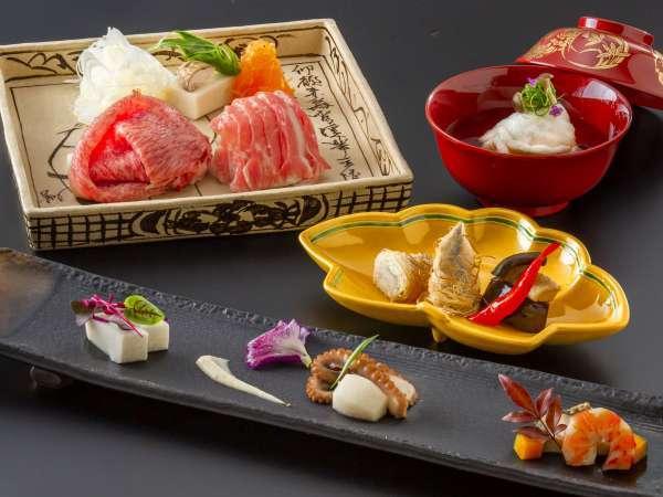 ■□認証近江牛とバームクーヘン豚の両方を楽しむ京風会席□■