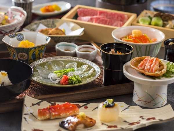 【夕食】四季折々の旬を味わう和食会席。「進鉢」「食事」は3種類からお選び頂けます。(一例)