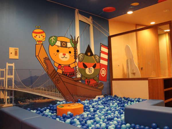 愛媛の人気ゆるキャラ「みきゃん」のイラストが可愛く飾ったボール風呂です♪ 親子で思いっきり楽しんで♪