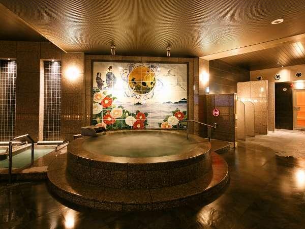 2020年7月リニューアルオープンの大浴場!瀬戸内の海をバックに道後温泉伝説を描いた砥部焼のタイル壁画