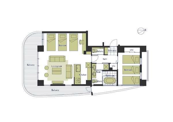 ◇スイートシックス平面図◇1戸68㎡の贅沢な造り。快眠に誘うシーリー社ベッド6台設置。