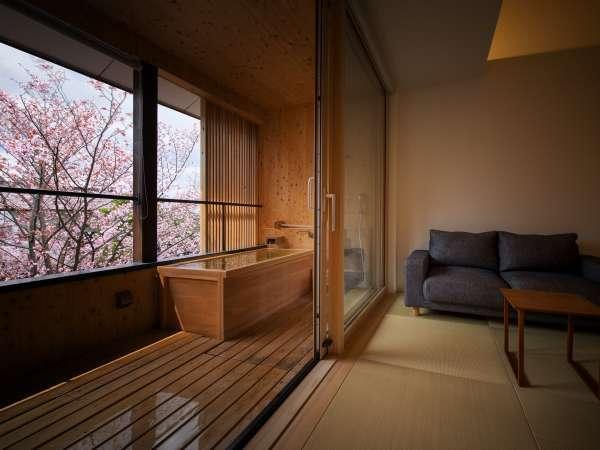【桜を眺める・SAKURA 2階客室例】桜と温泉を客室で独占する贅沢・・・料理も春の味覚を堪能