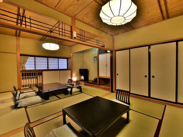 「温泉露天メゾネット」のお部屋(美松亭)の一例。2階建の1階部分です