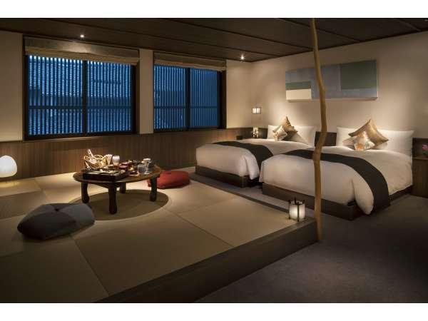 デラックスツイン(竹)本質を見極めたインテリアで客室を設えました。