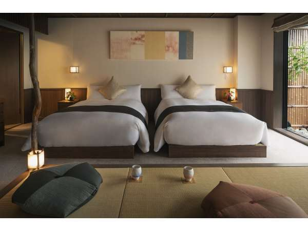 梅のお部屋。おもてなしの心で選び抜いた設えが、お客様の五感に安らぎをもたらします。
