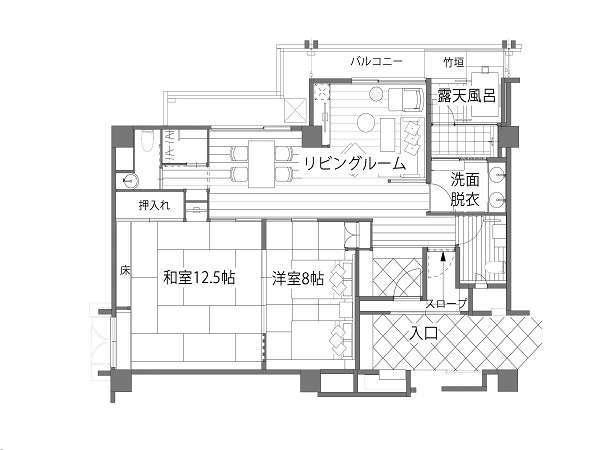 露天風呂付き客室「枳殻の間(平面図)」
