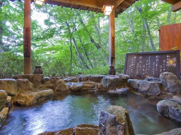 かみつけの湯より併設の露天風呂。森林に囲まれており四季折々の景色をお楽しみいただけます