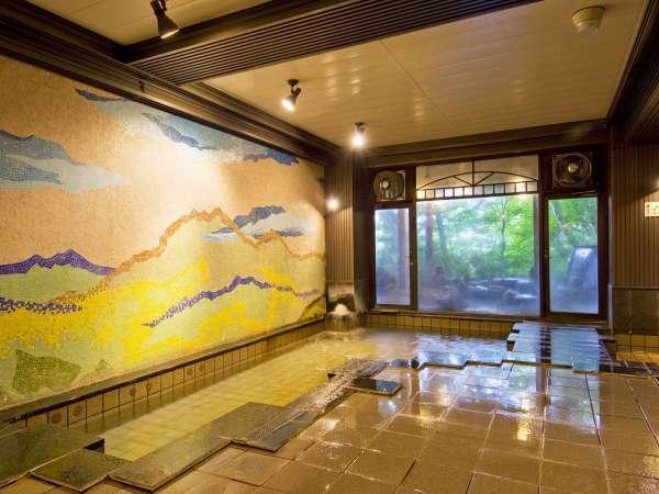 大浴場 かみつけの湯 上毛三山をあらわしたタイル壁画