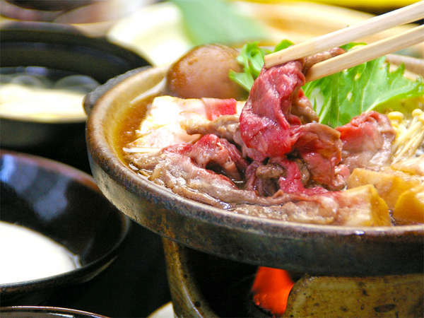 <チョイス☆和牛すき焼き会席>甘辛タレと和牛、卵がベストマッチ☆