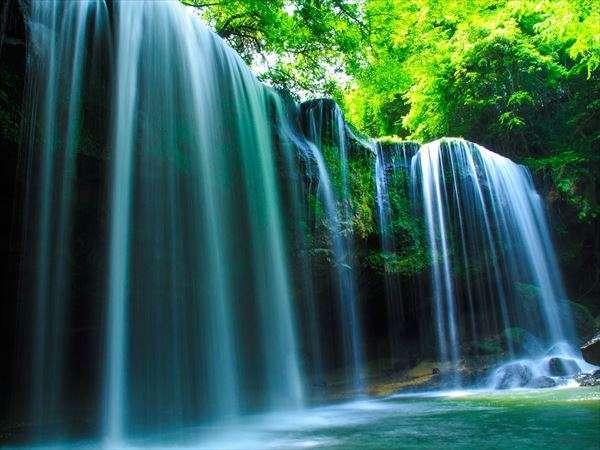 【鍋ヶ滝】お茶のCMのロケ地にもなった「鍋ヶ滝」。きらめく水と緑のコントラストは一度は見ておきたい絶景