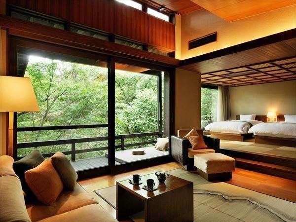 【客室イメージ】「木と石の温かさ」がテーマの客室。阿蘇の自然素材でできたインテリアが魅力です
