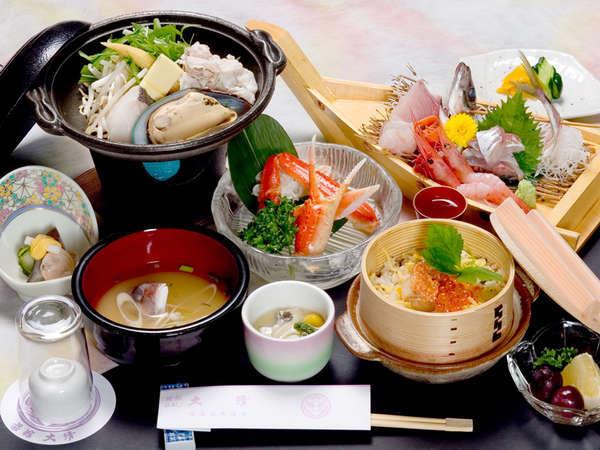 *新潟の海の幸や山の幸をふんだんに使った夕食一例