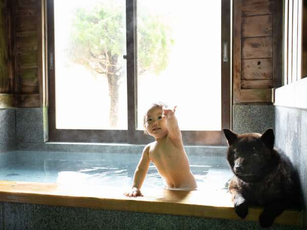 わんちゃんと一緒に入れる天然温泉100%の貸切風呂(50分3,500円)