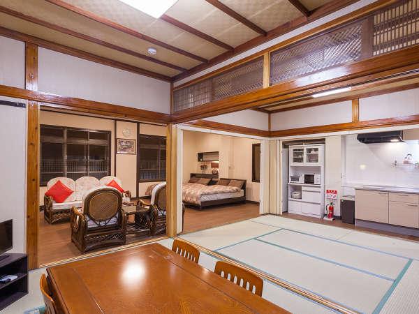 合計8名様宿泊可能な室内。畳の間では飲み会や食事も良し、畳派も満足の空間です。