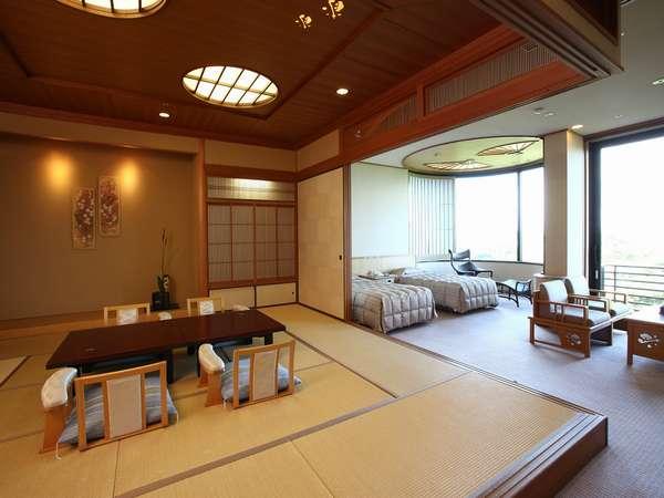 【離宮・和洋室】当館人気ナンバーワンの客室です。海を眺めて過ごす寛ぎの一時を…♪(広々84平米)