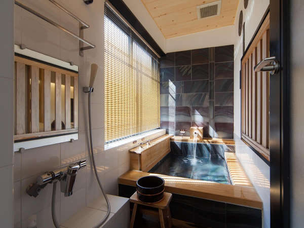 【竹庵】 愛媛の自然をテーマにした浴槽は竹林が描かれています