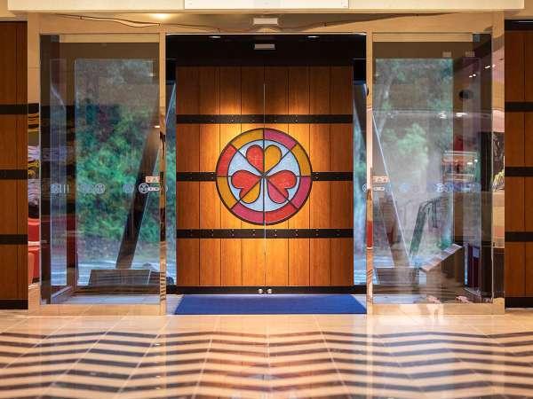 正面玄関には大江戸温泉物語のエンブレム